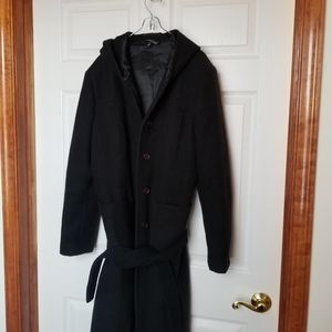 Le Chateau black wool trech coat - large